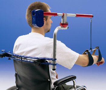 Mobility Arm Weight Counter Balance installed on a manual wheelchair
