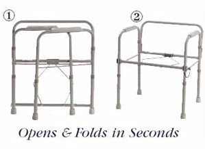 Folding Steel Commode illustrates folded and unfolded