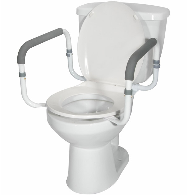 Toilet Safety Frame Rails attaches securely to your toilet
