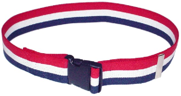 Gait Belt in Patriotic Red, White and Blue Stripe.  2 inches wide by up to 72