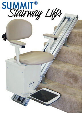 The Summit Stairlift mounts directly to your stairs, not the wall.  Mounted on either the left or the right.