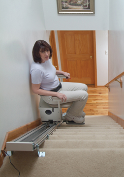The Summit Stairlift enroute up the stairs!