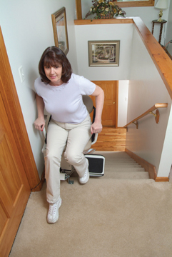 Disembarking from the Summit Stairlift Chair