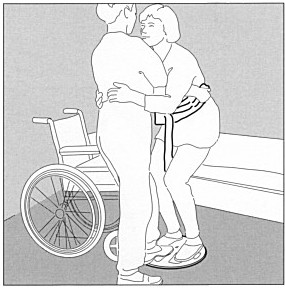 Illustration of Caregiver transferring individual from her bed to a wheelchair using the pivot disc.